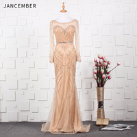 JANCEMBER vestido de gala Beading Crystal Pattern Full Sleeve Illusion O Neck Court Train Mermaid Organza New party long dress