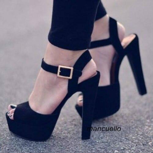 2af304a1123 Retro Style Black Suede Peep Toe Platform Sandals Simply Design Line Buckle  Slingback Block Heel Dress Sandals Versatile Shoes