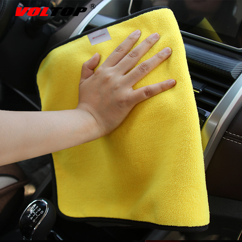 Image 3 - 30x30cm Thicker Car Wash Cloths Cleaning Tool Car Accessories Super Absorp Water Microfiber Towel Universal Auto Home Office-in Sponges, Cloths & Brushes from Automobiles & Motorcycles