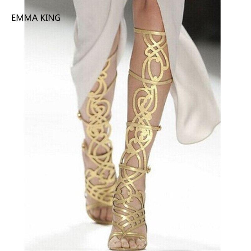 Gold Knee High Gladiator Heels