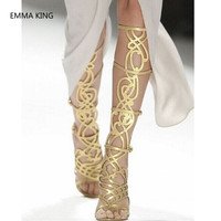 Summer Gold Women Knee High Gladiator Sandals Runway Ladies Shoes Open Toe Cut Out Sexy Thin High Heels Roman Style Woman Boots