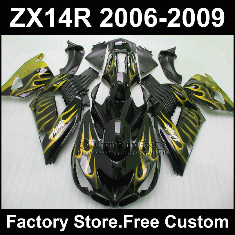 ABS plastic Injection fairing kit for Kawasaki 2006 2007ZX 14R 2008 2009  Ninja ZX14R 06-09 yellow flame in black fairings parts aftermarket free shipping motorcycle parts eliminator tidy tail for 2006 2007 2008 fz6 fazer 2007 2008b lack