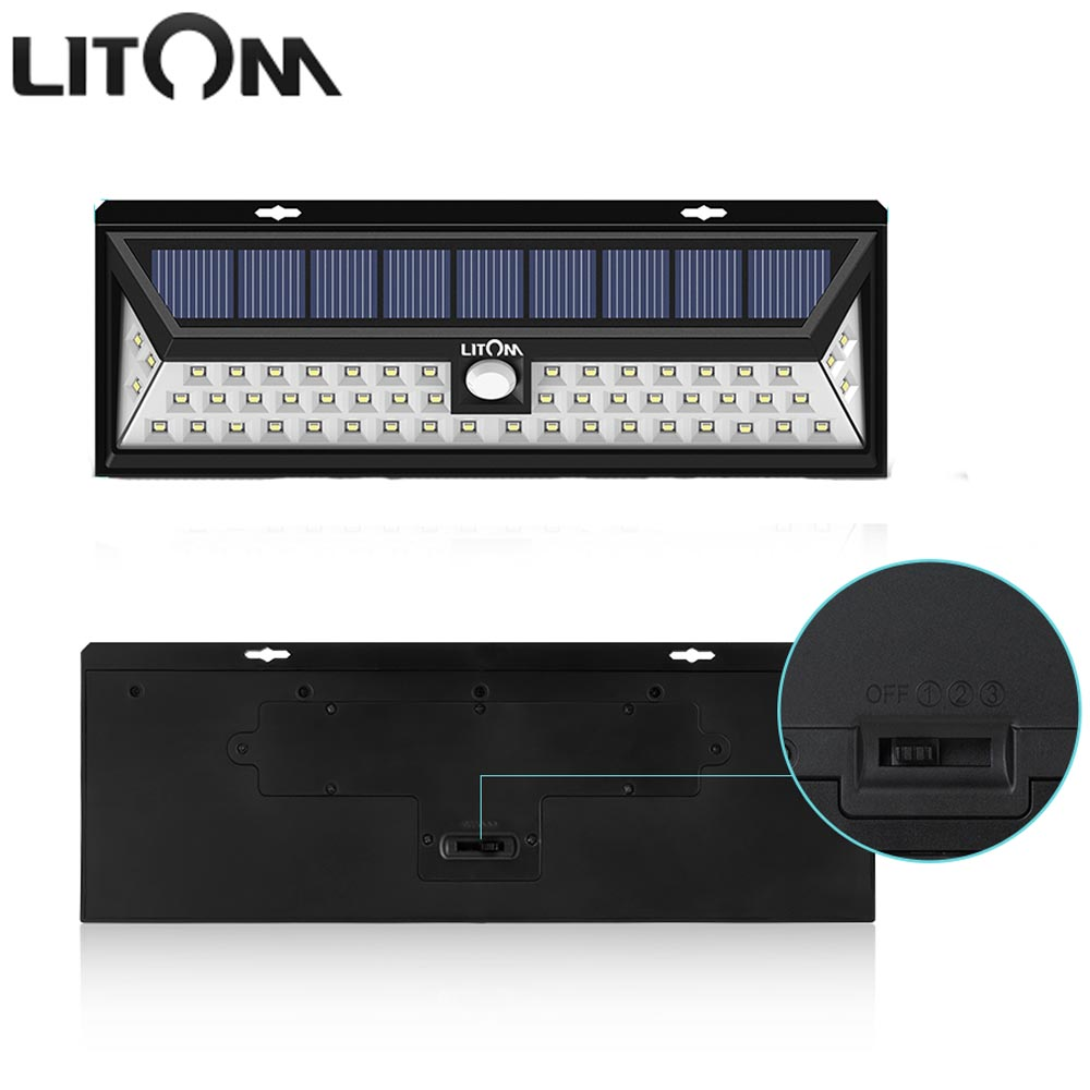 LITOM 54 LED Solar Lamp with Motion Sensor Waterproof Wide Angle Solar Night Lights Wireless Outside Wall Activated Deck Light