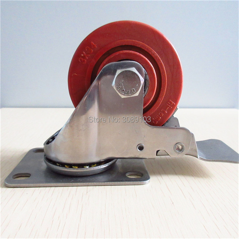 1 pcs 3 inch High temperature resistance Stainless Steel Caster