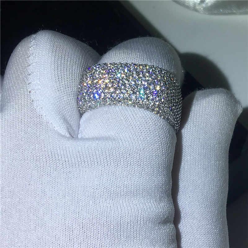 Choucong bague creuse 925 en argent sterling Micro pavé 450 pièces AAAAA Zircon cz fiançailles bagues de mariage pour les femmes bijoux cadeau