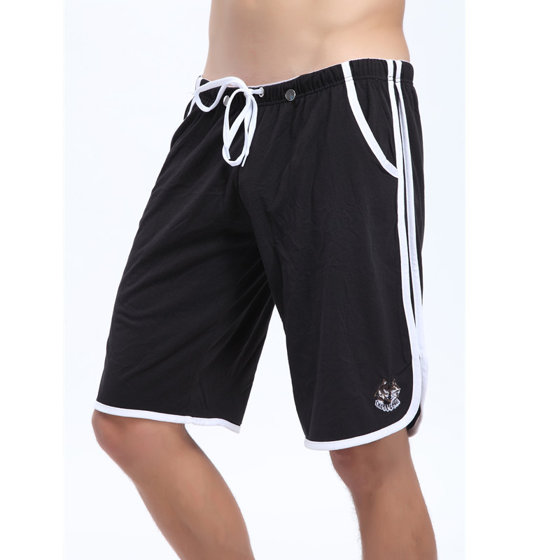 Shorts Men Summer Beach Shorts Cotton Breathable G-Strings Jocks Straps Inside Short Man Comfy Solid Summer Style Black New
