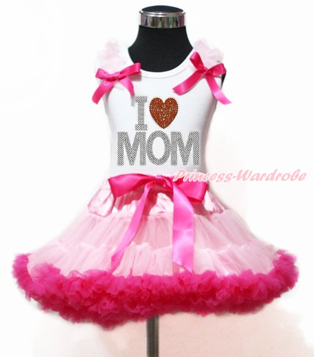 Mommy's day White Top Rhinestone Love Mother's Day Heart Light Hot Pink Girl Pettiskirt 1-8Y MAPSA0010 8x10ft valentine s day photography pink love heart shape adult portrait backdrop d 7324