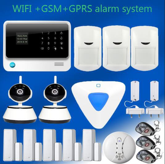 GSM SMS Wireless  Intruder Alarm System with HD 720P Wifi IP Camera Smoke Detector +wireless indoor siren in  one  set yongkang wireless 433mhz 1527 200k smoke detector for gsm alarm system