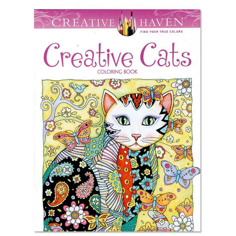 24 Pages Creative Cats Coloring Book Secret Garden For Children Adults