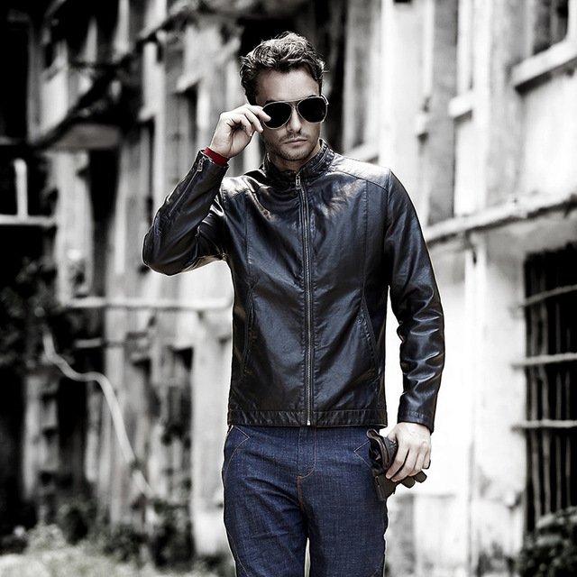 Men's pigskin motorcycle real leather jacket Genuine Leather jackets Autumn winter warm coat men Black 2016  stand collar men
