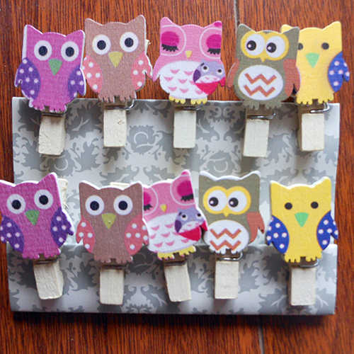 10 Pcs Owl Shaped Wood Paper Photo Clip DIY Wall Art Picture Hanging Album