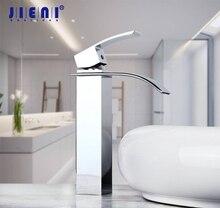 Кран для ванной комнаты с водопадом, смеситель для раковины, полированный хромированный кран, кран с одним отверстием
