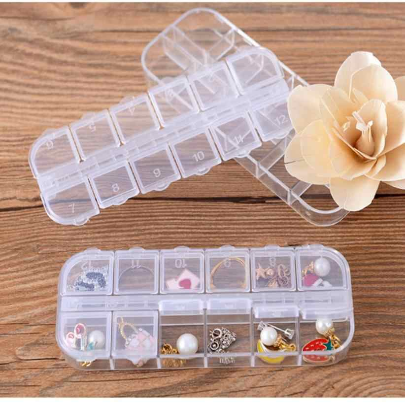 Adjustable Jewelry Necklace Transparent Storage Box Plastic Case Holder Organizer Beads Mini Jewelry Container Home Finishing