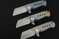 60HRC GB D2 Steel Blade Folding Knife TC4 Titanium Handles Ceramics Balls Satin Blade RAD Survival