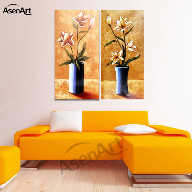 2 Piece Set Classical Flower Picture Vase Painting For Living Room Modern  Art Canvas Prints Wall