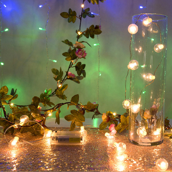 2M 20Lights Creative LED Rose Flowers Leaf Garland String Lights Beads Wedding Party Fairy Decoratio