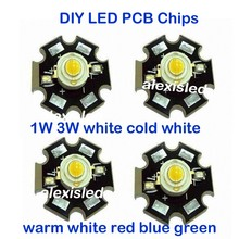 1 Вт 3 Вт высокое мощность светодиодный светильник PCB излучатель холодный белый теплый белый красный зеленый синий с 20 мм Звезда PCB! 10 шт