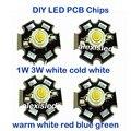 Freeshipping! 10 PCS 1 W 3 W de Alta Potência LEVOU Chip emissor de luz PCB Branco fresco Branco Morno Vermelho Verde Azul com 20 MM Estrela PCB