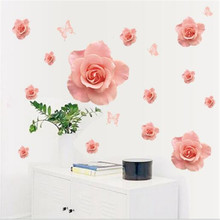 1PCS 3D Pink Rose Butterfly Wall Stickers DIY For Living Room TV Background Marriage Decals Mural Home Decoration 50*70CM