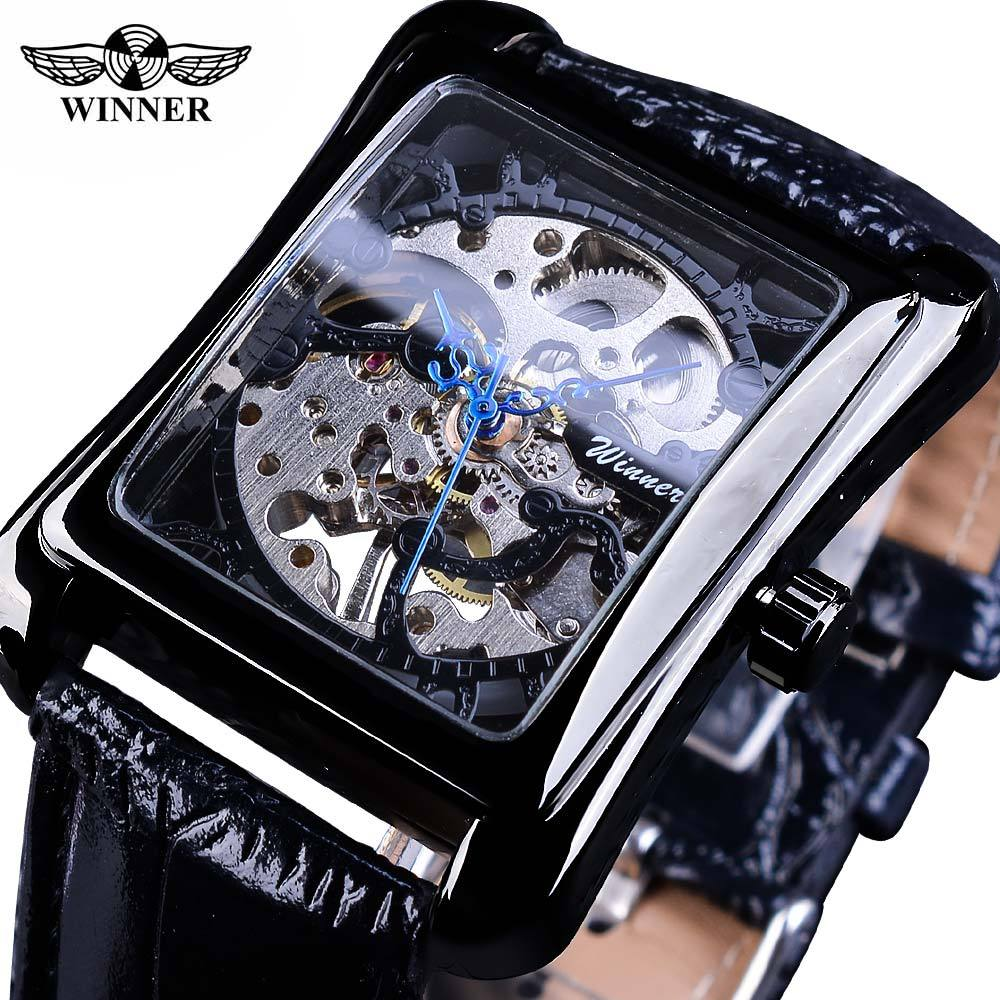 2018 Winner Brand Retro Casual Series Rectangle Dial Design Golden Pattern Hollow Skeleton Watch Men Top Luxury Mechanical Clock stylish golden hollow rounded rectangle hasp bracelet for women