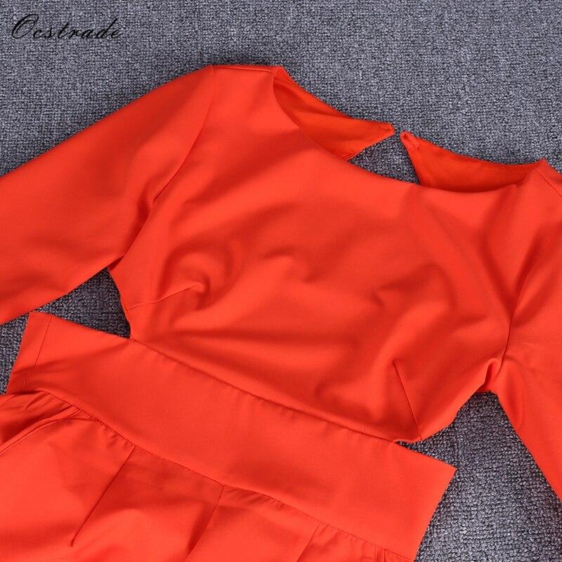 Redondo Bodycon Hi961 Ocstrade red Larga Nuevo Respaldo Mono Sin Rojo Cuello Manga De qvwxBEf14