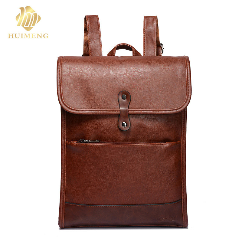 2018 Men Laptop bags PU Backpack 14 Inch high quality leather men preppy style backpack shoulder Schoolbag computer Travel bag 14 15 15 6 inch flax linen laptop notebook backpack bags case school backpack for travel shopping climbing men women
