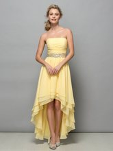 2019 Vestido De Festa Simple Strapless High Low Chiffon Prom Dresses Cute Asymmetrical Dress Evening Party Gowns Custom