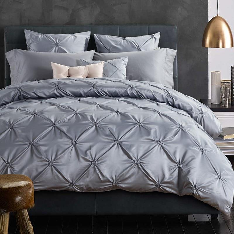 ⑧Hecho a mano plisado sujetador juegos de cama reina tamaño king 4 ...