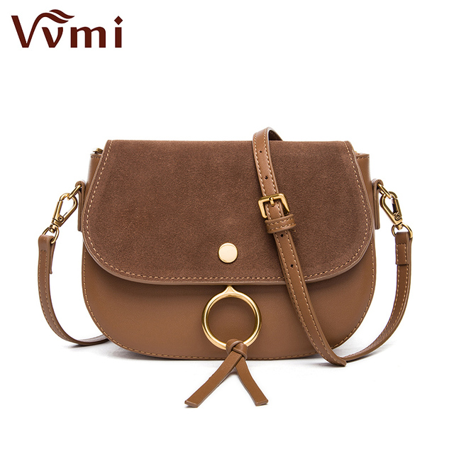 Vvmi Designer Women Handbags Chic Vintage Classic Suede Circle Saddle Bags Single Shoulder Crossbody For