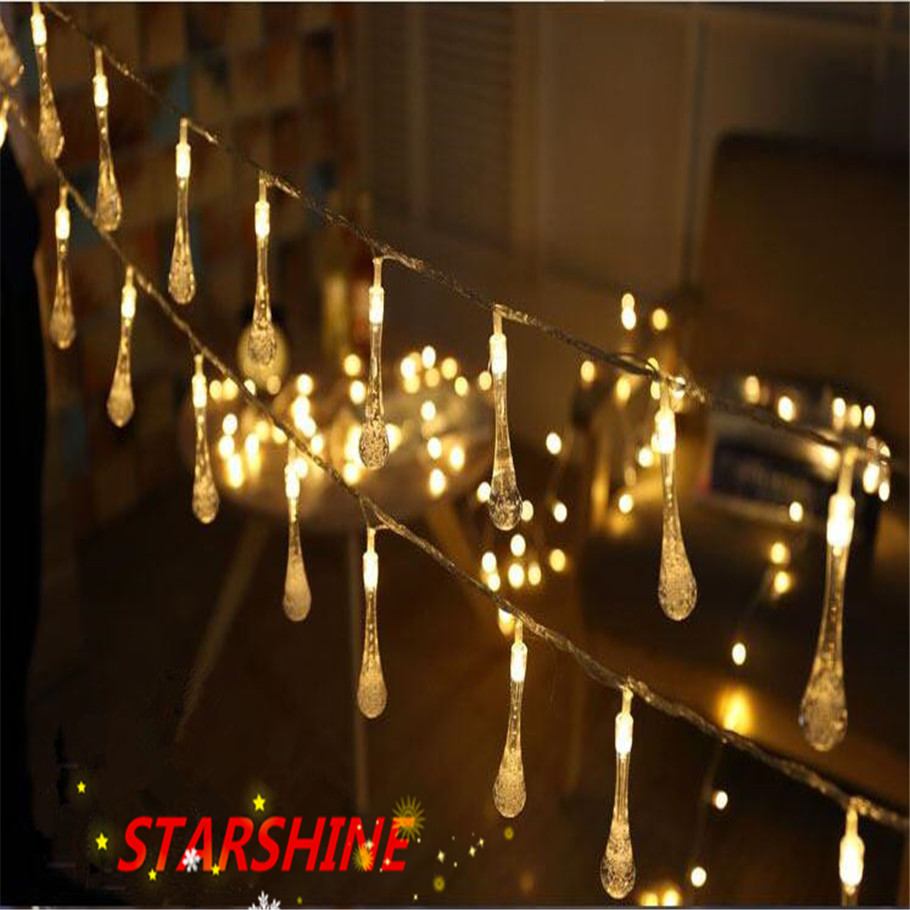 AC220V In Stock Crystal Bubble Water Drop String Fairy Lights for Wedding party christmas decorations for home outdoor indoor