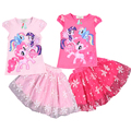 The new summer girls cartoon little pony Fashion suit, T-shirt + skirt two piece,pink and RoseRed two color,6 pieces/lot