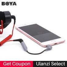 Boya Cable adaptador de micrófono TRS a TRRS para RODE Videomicro, 3,5 MM, para iPhone 7, 8, X, XR, XS, 11 Pro, Max, Samsung, S10 Plus