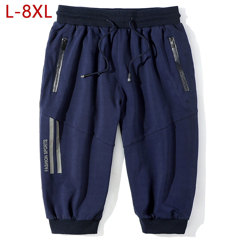 Plus Size L-8XL Casual Mens Harem Pants Black Solid Male Calf Length Pants Summer Breathable Cotton Track Pants For Men