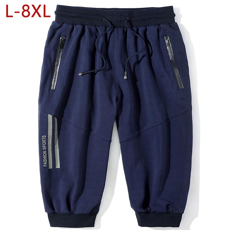Plus Size L-8XL Casual Mens Harem Pants Black Solid Male Calf Length Pants Summer Breathable Cotton Track Pants for Men