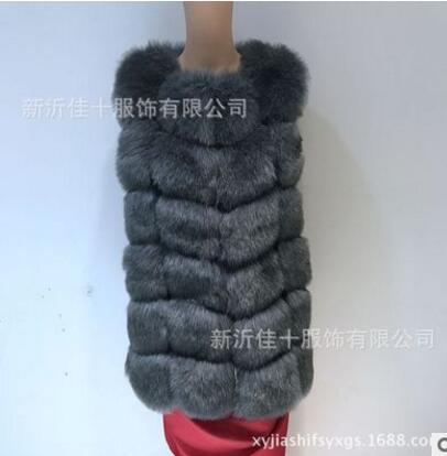 Новое поступление, зимний теплый модный длинный женский жилет из искусственного меха, пальто из искусственного меха, жилет из лисьего меха, женский жилет, большие размеры, S-4XL - Цвет: Dark gray