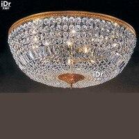 Золото Потолочные светильники ретро минималистский современный лобби Светильник спальни Кристалл встраиваемый светильник d75cm x H30cm