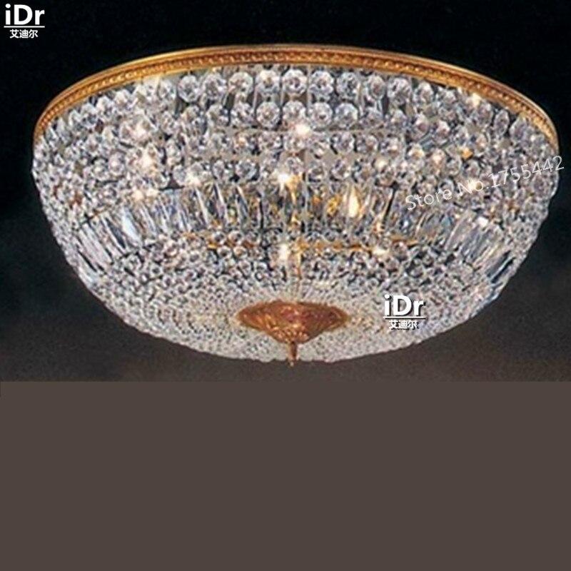 Luces de techo doradas, lámpara retro minimalista moderna para vestíbulo de hotel, lámpara de dormitorio, lámpara de descarga montada de cristal D75cm x H30cm