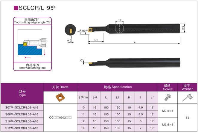 CCMT060204 VP15TF × 10pcs S08K-SCLCR06-A16 Lathe Boring Bar Turning Holder