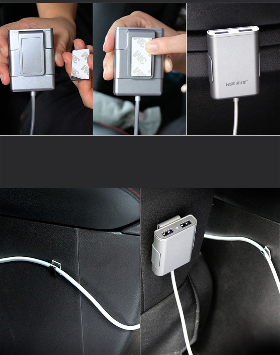 Brand HSC-600 car-charger 4 USB 4.8A Lengthen 1.8 meters , car charger for ipad iphone 5 5s 6 6s and samsung phone (14)