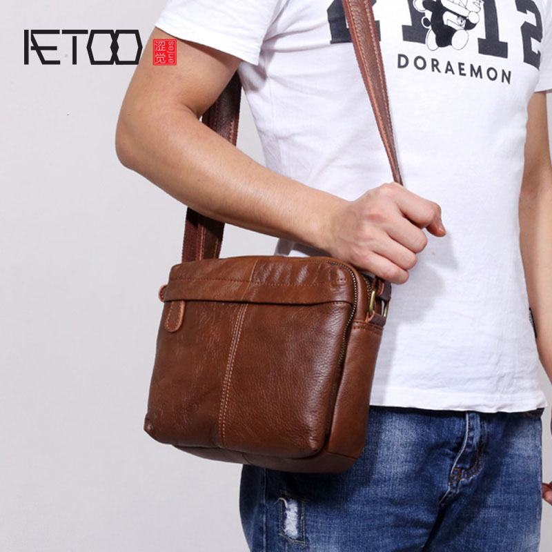 AETOO Leather men shoulder bag paragraph Messenger bag head layer of leather men bag retro soft leather wave tide leisure fashio aetoo 2017 new 100% cow leather shoulder bag retro vertical paragraph square bag new leather leisure travel messenger bag women