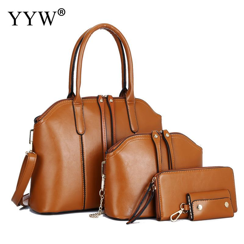 4 PCS/Set Brown PU Leather Handbags Women Bag Set Famous Brands Tote Bag Lady's Shoulder Messenger Bags Clutch Bag Womens'Pouch
