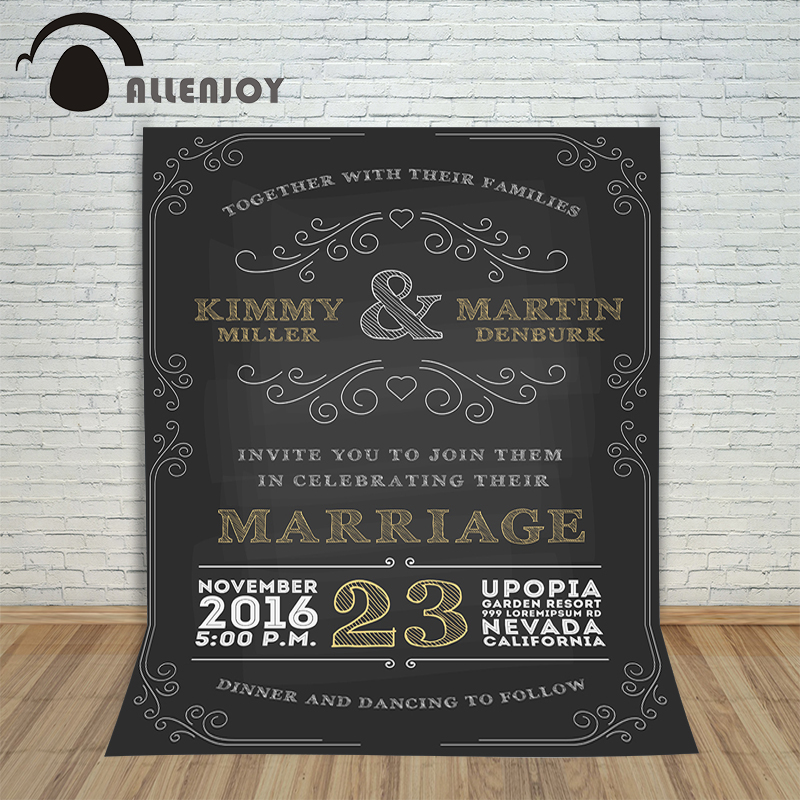 Allenjoy photographic marriage background blackboard painting designer Valentine's Day love wedding photocall for photo shoots