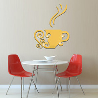 3D Coffee Cup Acrylic Mirror Wall Stickers Casual Coffee Shop Living Rooms Home Decor Mirrored Decorative