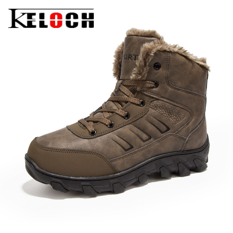 Keloch Newest Men Hiking Shoes Mens Outdoor Keepwarm Krasovki Camping Shoes Male Winter Climbing Ankle Boots Size 48 yin qi shi man winter outdoor shoes hiking camping trip high top hiking boots cow leather durable female plush warm outdoor boot