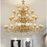 D120cm europeia Bronze Candelabro 24L LED Cobre LED K9 de Cristal Do Candelabro De Bronze Lustres Casa AC Lustre Do Hotel de Luxo Do Vintage