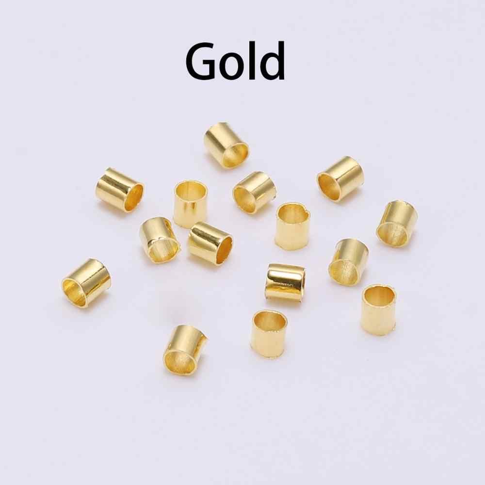 500 unids/lote oro plata cobre bola crimpado final cuentas Dia 2 2,5 3mm tapón espaciador granos de la joyería Diy haciendo conclusiones suministros