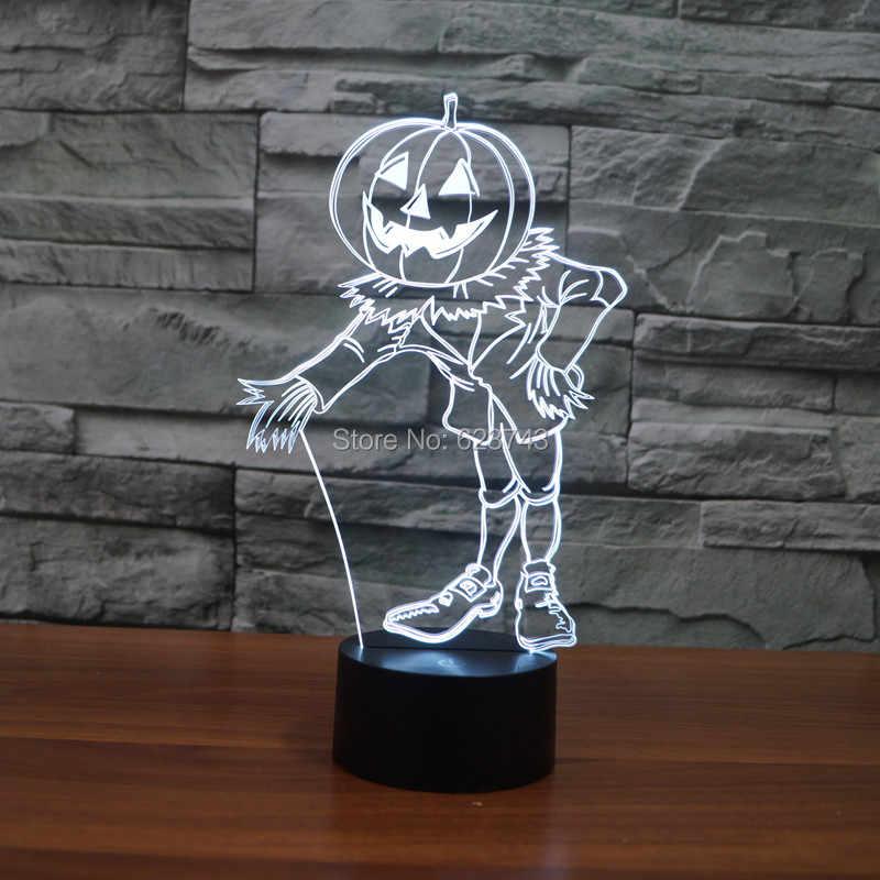 8 шт./лот 7 цветов Изменение 3D мигающая Тыква кукла акриловый светодиодный человек ночник с USB мощность многоцветная настольная лампа 3D светодиодный S