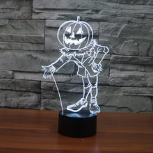 8pcs/lot 7 Color changing 3D Flashing Pumpkin Doll Acrylic LED Man Night Light with USB power multicolor table Lamp of LEDS