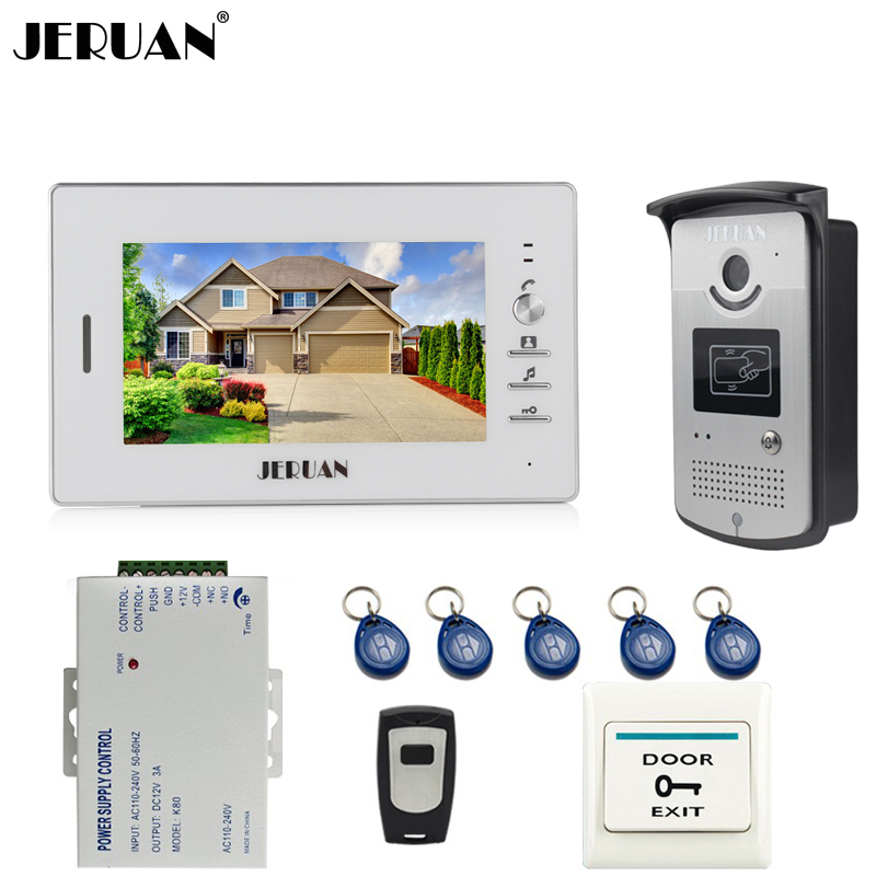 JERUAN Home Doorbell 7 inch Video Door Phone Intercom System 1 Monitor +700TVL RFID Access IR Camera + Remote Control In stock jeruan apartment 4 3 video door phone intercom system kit 2 monitor hd camera rfid entry access control 2 remote control