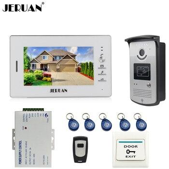 JERUAN accueil sonnette 7 pouces vidéo interphone système 1 moniteur + 700TVL RFID accès caméra IR + télécommande en stock